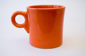 Vintage Fiestaware Tom and Jerry Mug in Original Radioactive Red Glaze For Sale