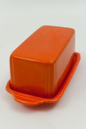Rare Riviera Pottery Radioactive Red Butter Dish 30s Solid Color Dinnerware