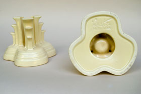 Vintage Fiesta Original Ivory Fiestaware Pottery Tripod Candle Holders: Gift, Rare, Hard to Find, Buy Onlline Now, American Antique Pottery