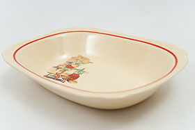 Hacienda Decal Ware Homer Laughlin Red Stripe Round Nappy Bowl