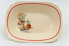 Hacienda Decal Ware Homer Laughlin Red Stripe Oval Baker Bowl
