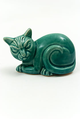 Harlequin Animal Novelty Spruce Green Cat Homer Laughlin Pottery for Woolworths
