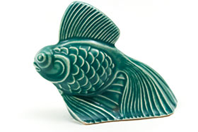 Harlequin Animal Novelty Fish in Spruce Green  Homer Laughlin Pottery for Woolworths