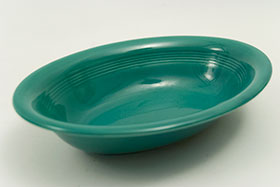 Vintage Harlequin Pottery Oval Baker in Original Spruce Green Glaze