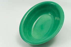 Vintage Harlequin Pottery Oval Baker in Original  Green Glaze