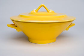 Harlequin Pottery Yellow Covered Casserole: Pottery for Sale