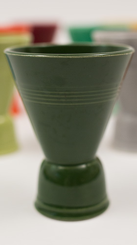 Vintage Harlequin Double Egg Cup in Forest Green