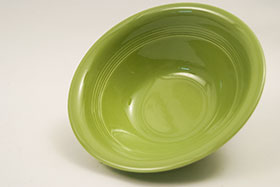 Vintage Harlequin Pottery 9 Inch Nappy Bowl in 50s Chartreuse Glaze