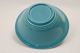 Vintage Harlequin Pottery 9 Inch Nappy Bowl in Original Turquoise Glaze