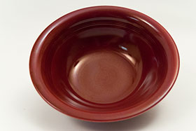 Vintage Harlequin Pottery 9 Inch Nappy Bowl in 30s Maroon Glaze