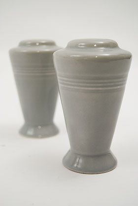 Vintage Harlequin Pottery Salt and Pepper Shakers in Original 50s Gray Glaze