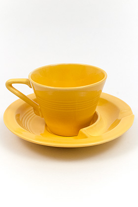 Harlequin Pottery Saucer Ashtray in Harlequin Yellow Glaze