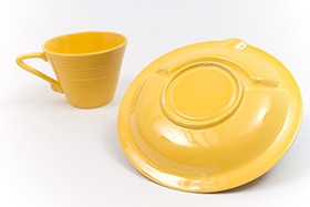 Harlequin Pottery Saucer Ashtray in Vibrant Harlequin Yellow Glaze