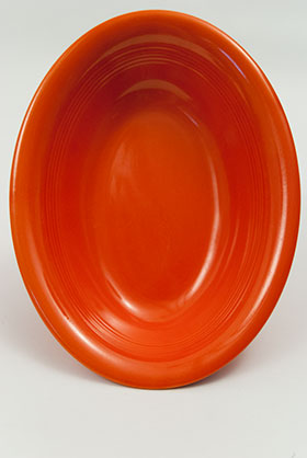Vintage Harlequin Pottery Oval Baker in Original Radioactive Red Glaze