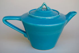 Vintage Harlequin Pottery For Sale: Turquoise Teapot 40s 50s Pottery