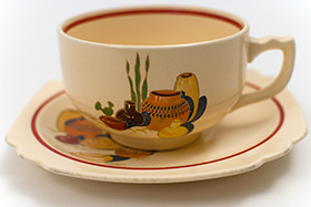 Mexicana Decal Ware Homer Laughlin Red Stripe Teacup and Saucer Set