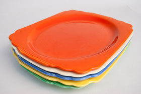 Radioactive Red Riviera Platter Oval Well with Tab Handles