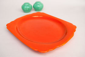 Radioactive Red RIviera Pottery Oval Well Platter with Tab Handles