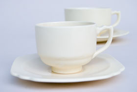 Vintage Homer Laughlin Riviera Pottery Demitasse Cup and Saucer Set