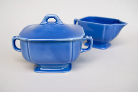 Riviera Pottery for Sale: Original Mauve Sugar and Creamer Set from vintagefiestaware.com