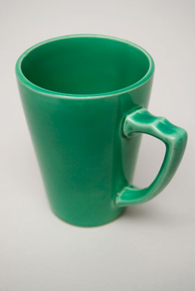 Rare Riviera Pottery Handled Mug Tumber in Original Green For Sale