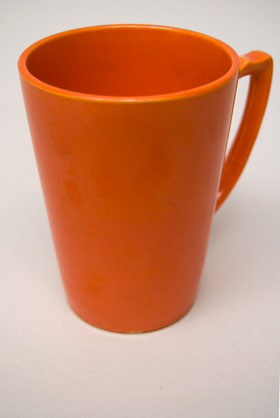 Rare Riviera Pottery Handled Mug Tumber in Original Red For Sale