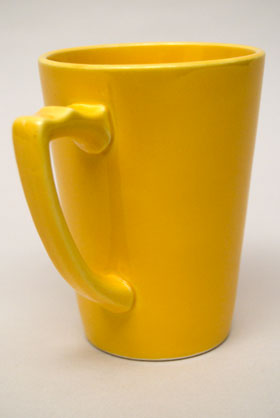 Rare Riviera Pottery Handled Mug Tumber in Original Yellow For Sale