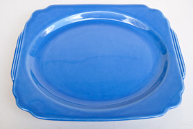 Original Mauve Blue RIviera Pottery Oval Well Platter with Tab Handles