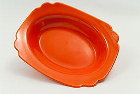 Riviera Red Oval Baker  Glaze For Sale Vintage Pottery 30s Americana Art Deco Dinnerware
