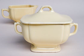 Riviera Pottery for Sale: Original Ivory Sugar and Creamer Set from vintagefiestaware.com
