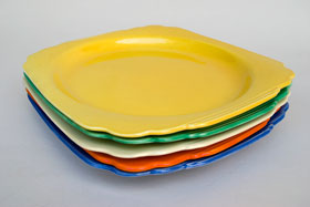 Original Harlequin Yellow RIviera Pottery Oval Well Platter with Tab Handles