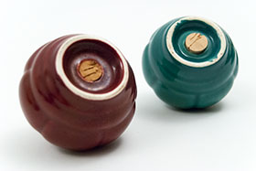 Tango Homer Laughlin Shakers in Maroon and Spruce Green Glaze Riviera Harlequin Vintage American Pottery