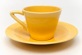 Harlequin Demitasse Cup Saucer Set Original Yellow Original Glaze