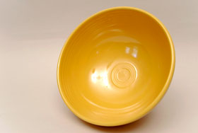 Yellow Vintage Fiestaware Large Footed Salad Bowl For Sale