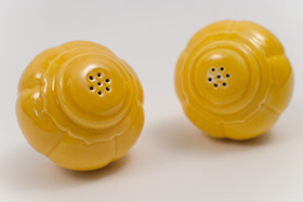 Vintage Riviera Pottery Salt and Pepper Shakers in Original Yellow Glaze