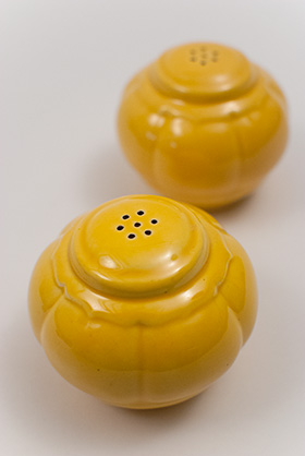 Riviera Homer Laughlin Pottery Yellow Salt and Pepper Shakers