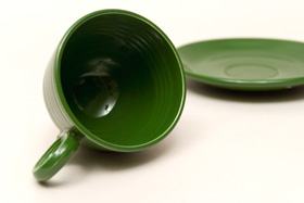 50s Fiesta Forest Green Fiesta Teacup and Saucer Fiestaware Pottery For Sale