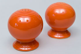 Vintage Fiestaware Salt and Pepper Shakers in Original Original Red  Glaze For Sale