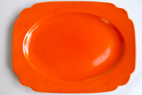 Original Radioactive Red RIviera Pottery Oval Well Platter with Tab Handles