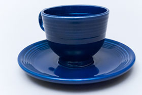Fiesta Cobalt Blue Fiesta Teacup and Saucer Fiestaware Pottery For Sale