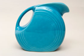 Original Turquoise Fiesta Vintage Disk Water Pitcher: Fiestaware For Sale