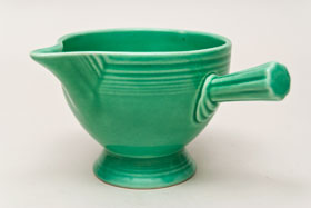 Vintage Fiestaware Stick Handled Creamer in Original Green Glaze For Sale