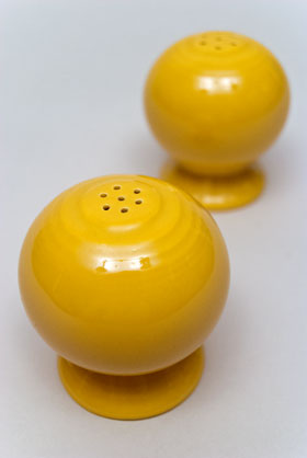 Vintage Fiestaware Salt and Pepper Shakers in Original Original Yellow  Glaze For Sale