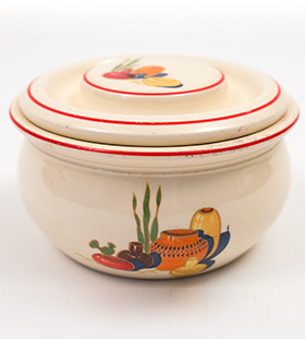 Fiesta Kitchen Kraft Individual Casserole with Red Stripes and Mexicana Decals