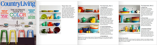 Happy Heidi in Country Living Magazine for Vintage Fiestaware Tableware