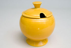 Vintage FIestaware: Original Yellow Fiesta Pottery Marmalade For Sale