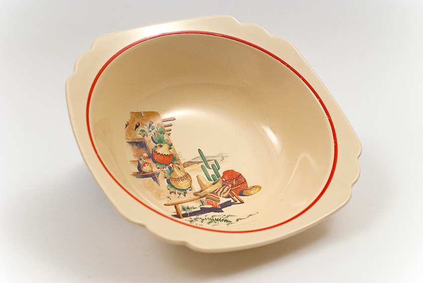 Hacienda Decalware Southwest Mexicana Homer Laughlin Century Red Stripe Vegetable Nappy Bowl ... & Hacienda Decalware Homer Laughlin Mexicana Southwest Themed Vintage ...