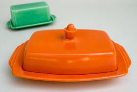 Vintage Harlequin Pottery For Sale: Fiestaware Radioactive Red: Homer Laughlin: Rare Butter Dish
