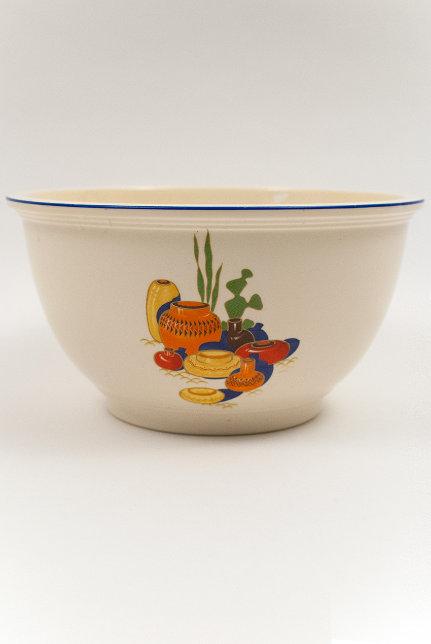 Mexicana Kitchen Kraft Mixing Bowl With Decal And Blue Stripe ...