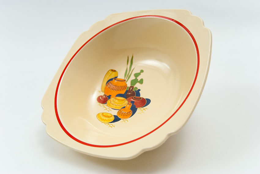 Riviera Pottery Berry Bowl with Mexicana Decals and Red Stripes ...